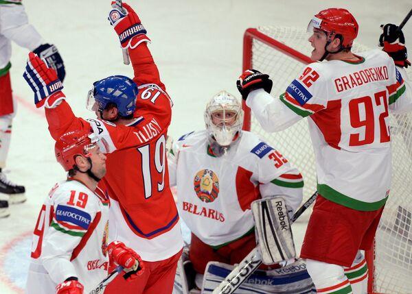 Игровой момент матча Чехия - Белоруссия
