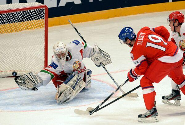 Игровой момент матча Чехия - Белоруссияемпионат мира. Матч Чехия - Белоруссия