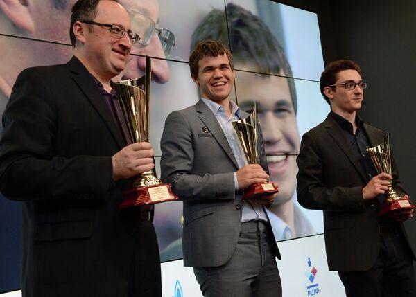 Борис Гельфанд, Магнус Карлсен и Фабиано Каруана (слева направо)