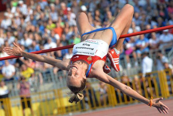 Евгения Кононова (Россия) в финальных соревнованиях по прыжкам в высоту