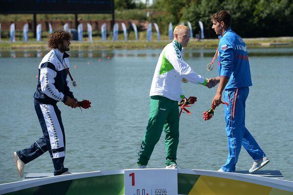 (Cлева направо): Манфреди Рицца (Италия) - серебряная медаль, Игнас Навакаускас (Литва) - золотая медаль, Олег Харитонов (Россия) - бронзовая медаль