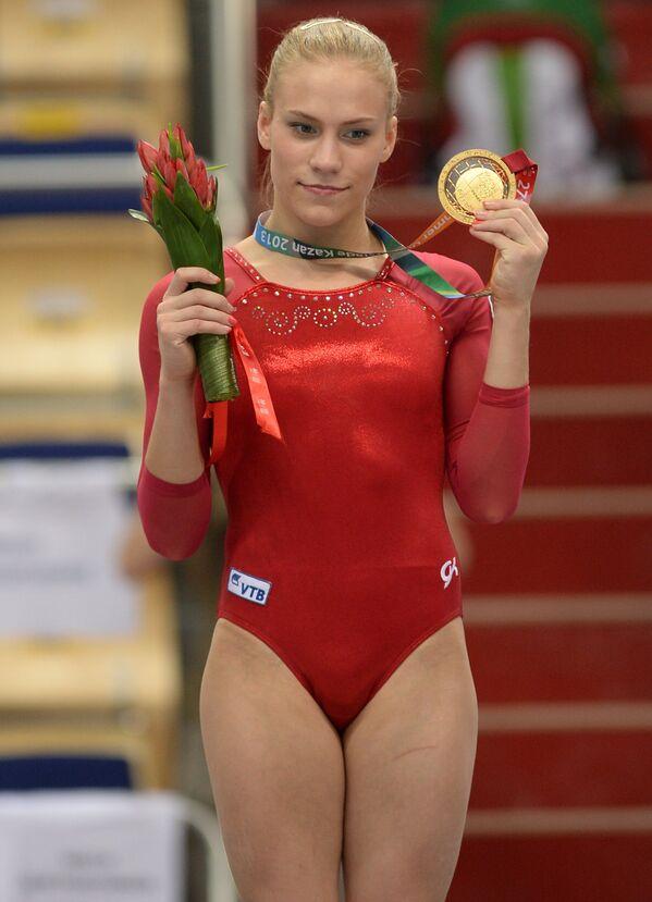 Ксения Афанасьева после победы в вольных упражнениях на Универсиаде