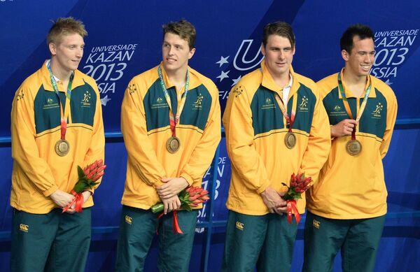 Команда Австралии, завоевавшая медаль на соревнованиях по плаванию в эстафете 4х200 м вольным стилем