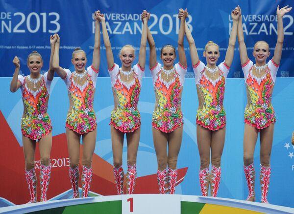 Российские гимнастки, завоевавшие золотые медали на соревнованиях в групповом многоборье