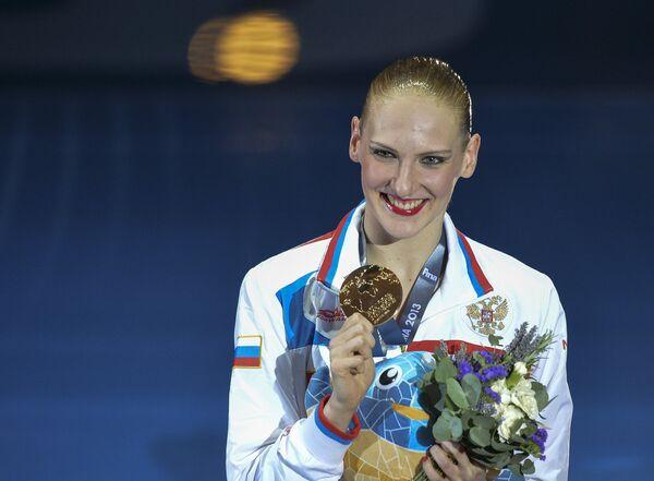 Светлана Ромашина с золотой медалью чемпионата мира