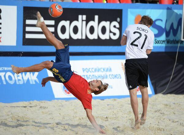 Игровой момент матча между сборными командами Испании и Германии