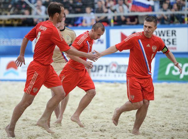 Игроки сборной России Егор Шайков, Антон Шкарин и Илья Леонов (слева направо)