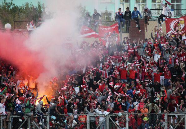 Болельщики ФК Спартак на матче 6-го тура Чемпионата России по футболу