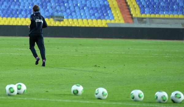 Предматчевая тренировка сборной Люксембурга