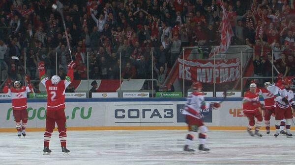 Лучшие моменты столичного дерби Спартак-ЦСКА в рамках чемпионата КХЛ
