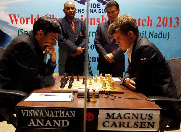 Вишванатан Ананд и Магнус Карлсен в матче за звание чемпиона мира по шахматам