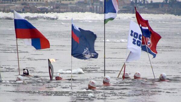 Моржи с олимпийском огнем проплыли по Амуру на эстафете в Благовещенске