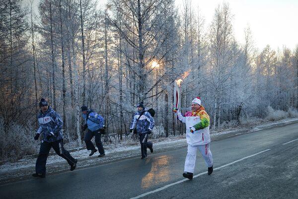 Эстафета олимпийского огня. Чита