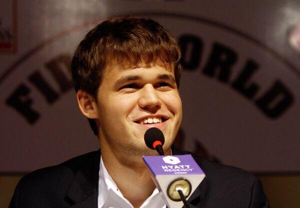 Магнус Карлсен на пресс-конференции по случаю победы в матче за звание чемпиона мира по шахматам