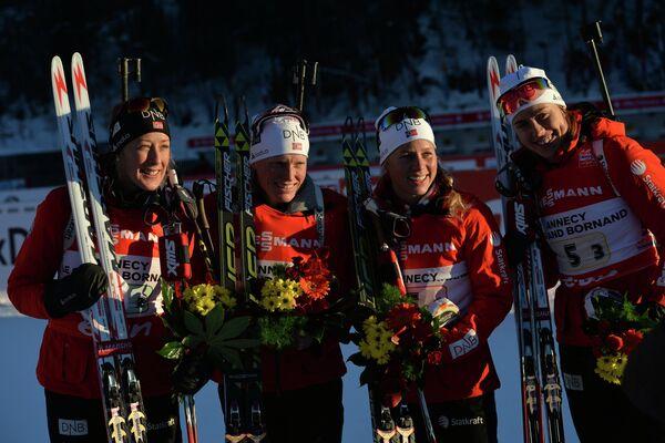 Норвежские биатлонистки Фанни Хорн, Тура Бергер, Тириль Экхофф, Сюнневе Солемдаль (слева направо)