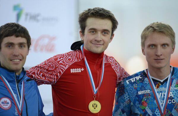 Александр Румянцев - второе место, Денис Юсков - первое место, Иван Скобрев - третье место (слева направо)