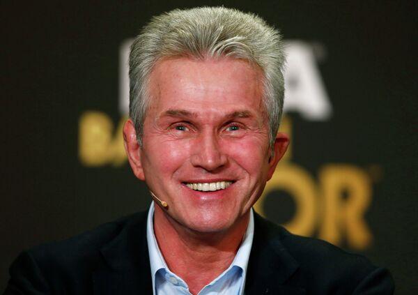 Бывший главный тренер Баварии Юпп Хайнкес на пресс-конференции, посвященной вручению Золотого мяча-2013