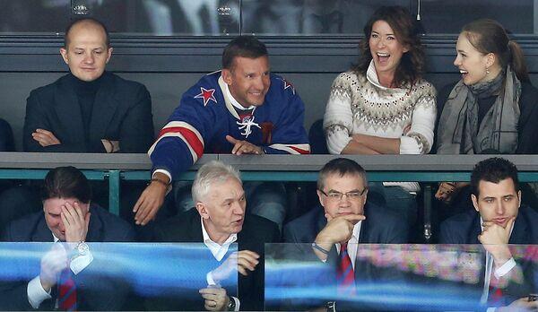 Андрей Шевченко на хоккейном матче СКА-Динамо