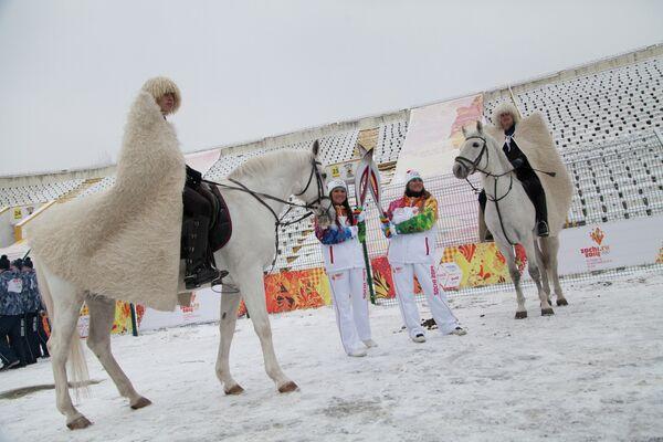 Эстафета олимпийского огня во Владикавказе