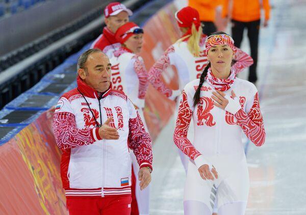 Екатерина Лобышева (Россия) и тренер Маурицио Маркетто