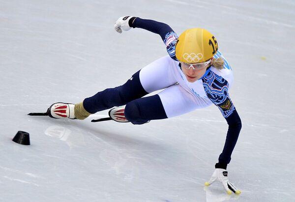 Олимпиада 2014. Шорт-трек. Валерия Резник . 500 метров. Предварительные заезды