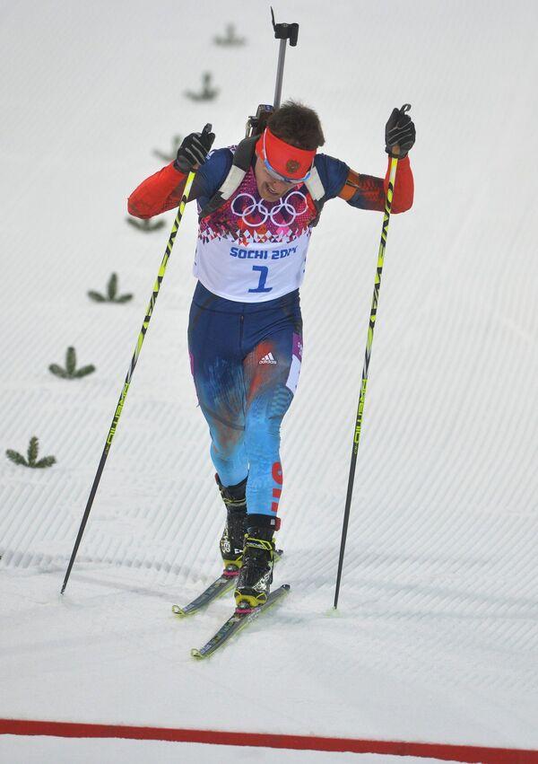 Евгений Гараничев (Россия) на финише индивидуальной гонки