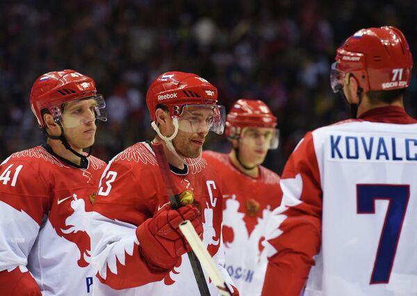 Николай Кулемин, Павел Дацюк, Евгений Малкин и Илья Ковальчук (слева направо)