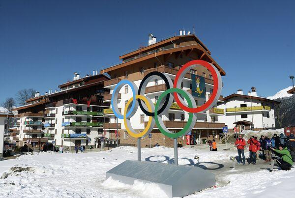 Вид на Главную горную Олимпийскую деревню в Сочи
