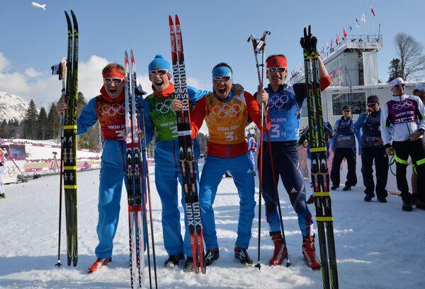 Дмитрий Япаров, Александр Бессмертных, Александр Легков, Максим Вылегжанин (слева направо)