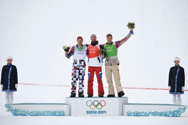 Николай Олюнин (Россия) - серебряная медаль, Пьер Вольтье (Франция) - золотая медаль, Александр Дейболд (США) - бронзовая медаль