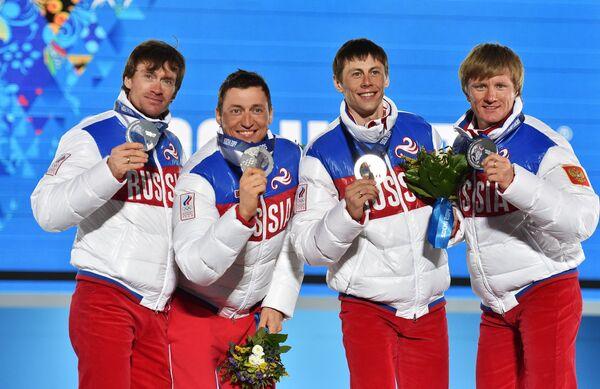 Максим Вылегжанин, Александр Легков, Александр Бессмертных, Дмитрий Япаров (слева направо)