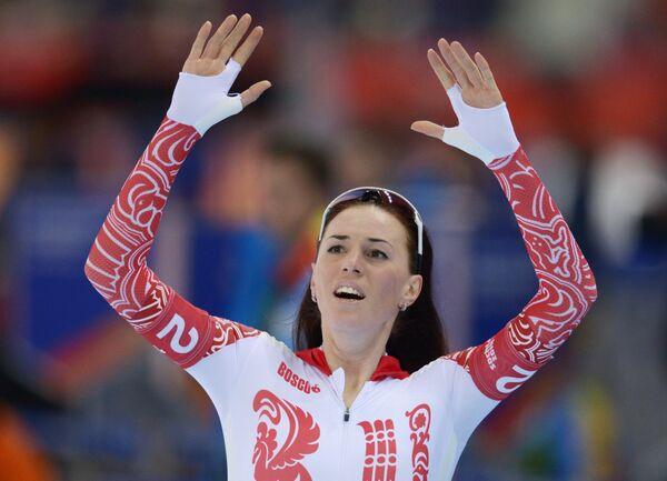 Екатерина Лобышева (Россия) после финиша в финале командной гонки преследования