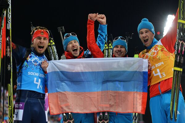 Слева направо: Антон Шипулин (Россия), Алексей Волков (Россия), Евгений Устюгов (Россия), Дмитрий Малышко (Россия)