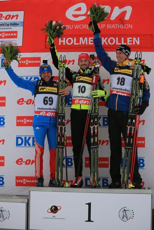 Слева направо: Евгений Гараничев (Россия), завоевавший серебряную медаль, Яков Фак (Словения), завоевавший золотую медаль, и Бьерн Ферри (Швеция), завоевавший бронзовую медаль