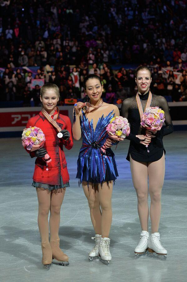 Юлия Липницкая (Россия) - серебряная медаль, Мао Асада (Япония) - золотая медаль, Каролина Костнер (Италия) - бронзовая медаль.