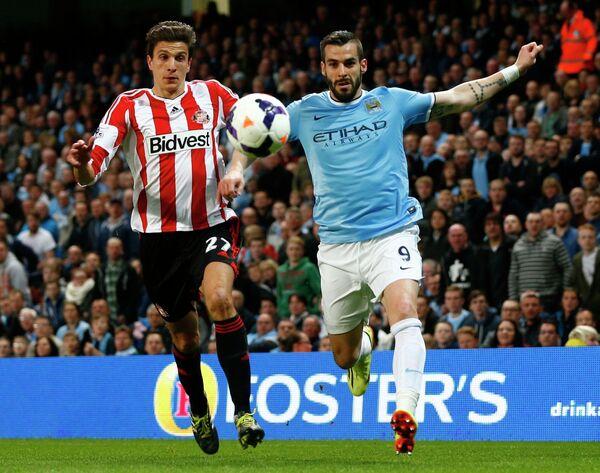 Игровой момент матча Манчестер Сити - Сандерленд