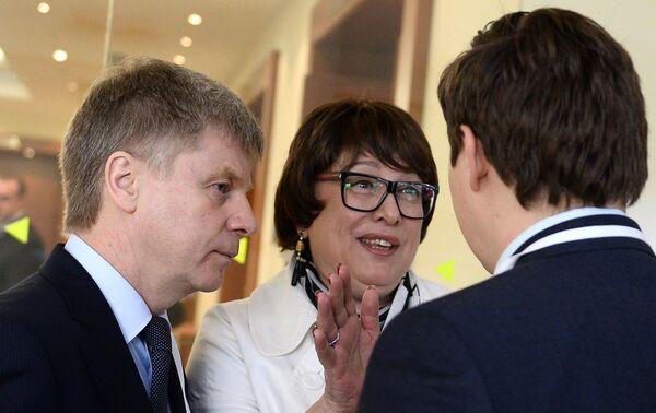 Николай Толстых, Ольга Смородская и Максим Митрофанов (слева направо)