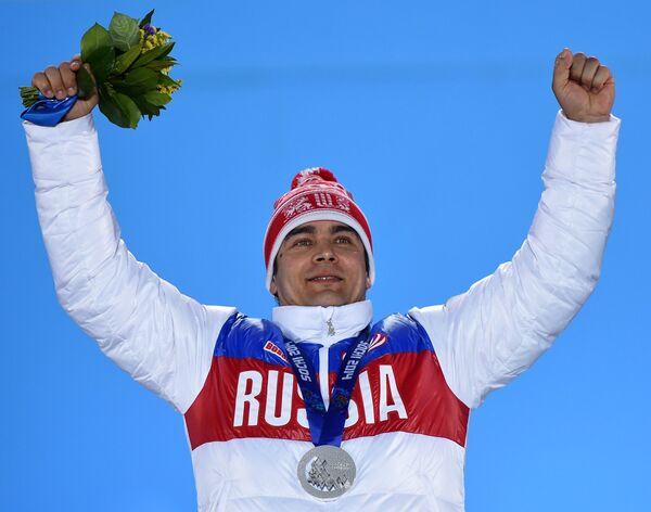Альберт Демченко (Россия), завоевавший серебряную медаль на XXII зимних Олимпийских играх в Сочи