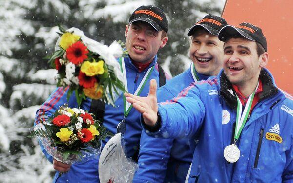 Российские бобслеисты Николай Хренков, Дмитрий Труненков и Филипп Егоров (слева направо)