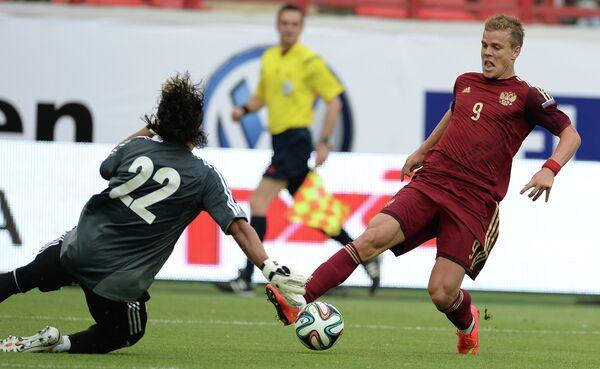 Игровой момент матча Россия - Марокко