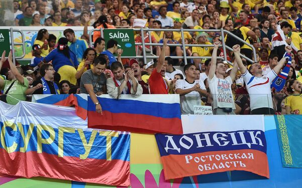 Болельщики на матче группового этапа чемпионата мира по футболу 2014 между сборными командами России и Южной Кореи.