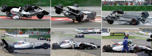 Авария Фелипе Массы после столкновения с Кевином Магнуссеном на Гран-при Германии