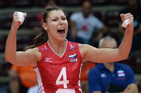Блокирующая сборной России Ирина Заряжко