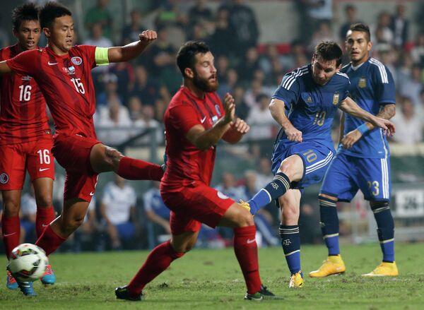 Игровой момент матча Гонконг - Аргентина.
