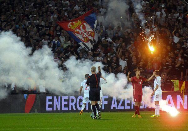 Беспорядки на футбольном матче Сербия - Албания