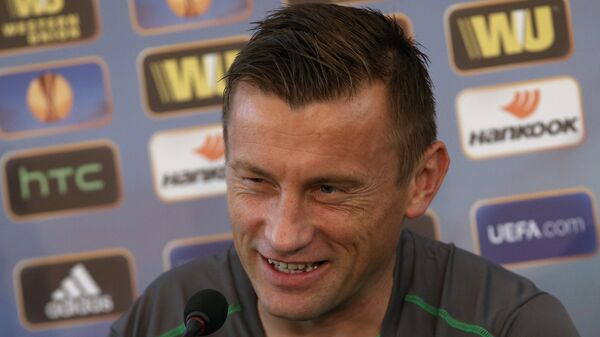 Нападающий Вольфсбурга Ивица Олич на пресс-конференции