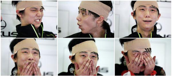 Японский фигурист Юдзуру Ханю во время произвольной программы на этапе Гран-при в Китае.
