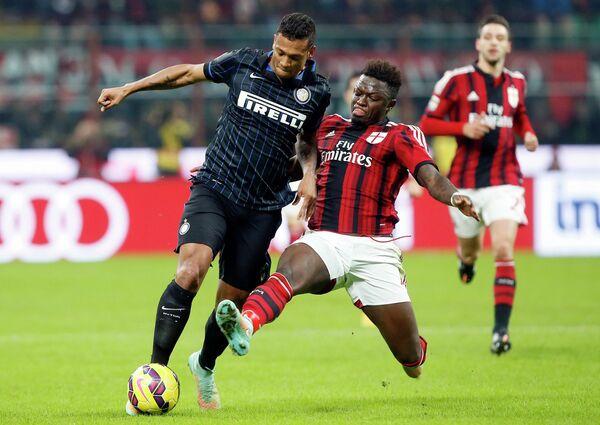 Игровой момент матча Милан - Интер