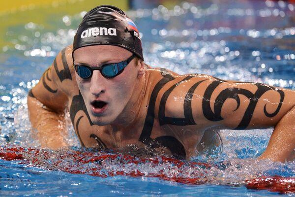 Никита Коновалов (Россия) после заплыва на дистанцию 50 м баттерфляем
