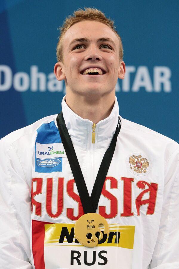 Евгений Седов (Россия) завоевавший золотую медаль на дистанции эстафеты 4х50 м вольным стилем